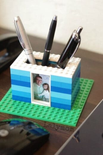 DIY lego pen holder Father's Day gift for Dad from kids