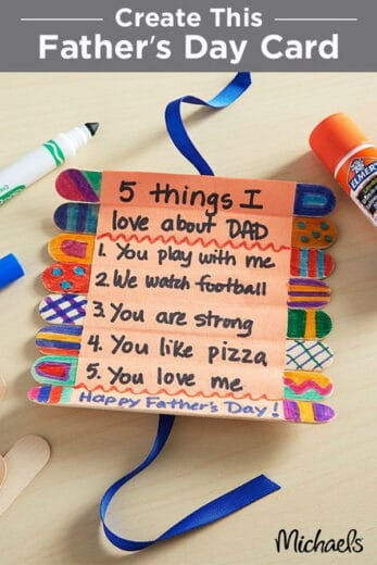 Easy DIY Craft stick Father's Day card for kids to make