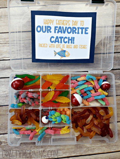 DIY Father's Day candy tackle box gift idea from kids and wife