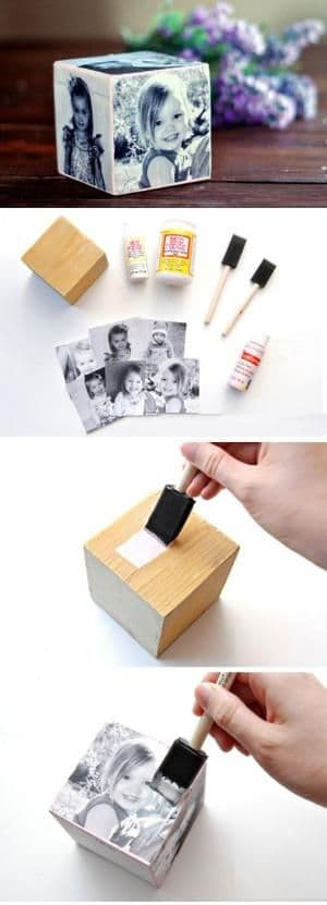 DIY Father's Day wooden photo cube gift