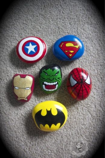 Easy DIY super hero painted rock craft gift for Fathers Day