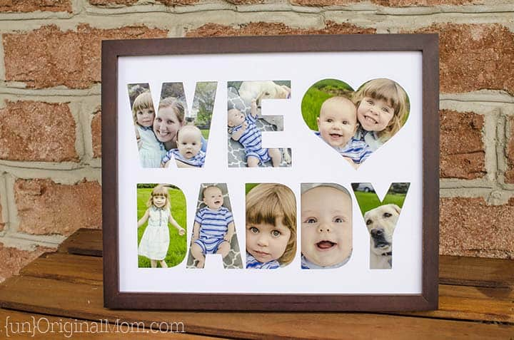 DIY framed picture keepsake Father's Day gift.