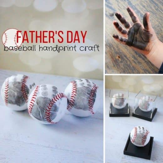 Easy DIY father's day baseball handprint craft kids can make.