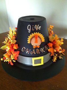 Flower Pot Pilgrim Hat Centerpiece Craft