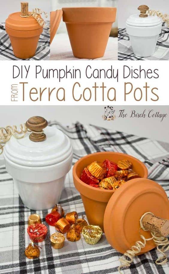 Flower Pot Pumpkins Craft Candy Dish