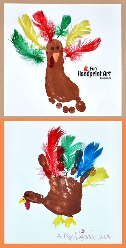 Footprint Turkey Thanksgiving Kids Craft