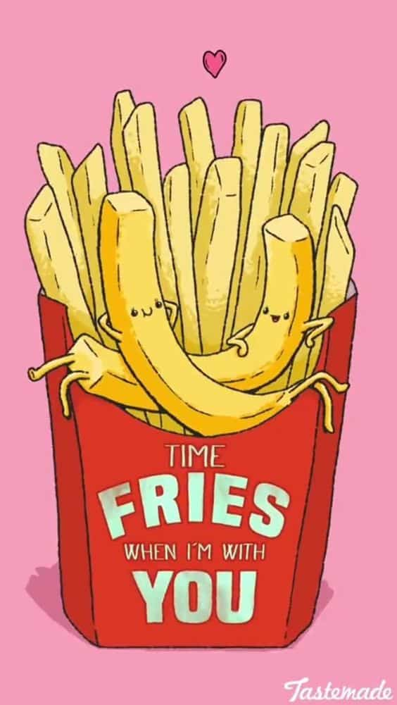 Time Fries When I'm With You Pun - These are the best, clever, funny, and easy, DIY Valentines day gift ideas. DIY boyfriend gifts