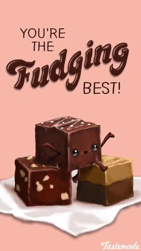 Fudge Food Pun for a quick, easy, and clever Valentines Day treat gift idea for him