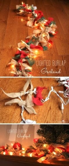 Rustic DIY Christmas Burlap Garland Christmas Decor