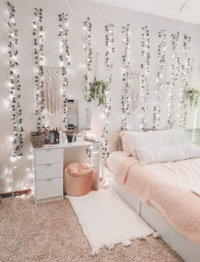 Fairy Lights and faux green ivy garland bedroom or dorm room wall decor idea