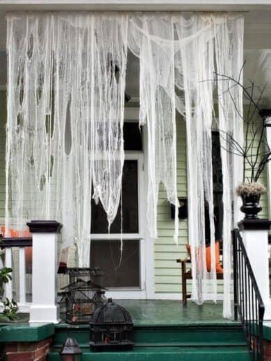 DIY Ghostly Drapes Outdoor decor