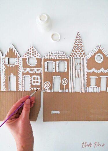 Cardboard Gingerbread House Villiage