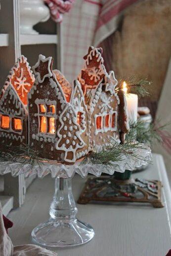 Gingerbread villiage centerpiece idea