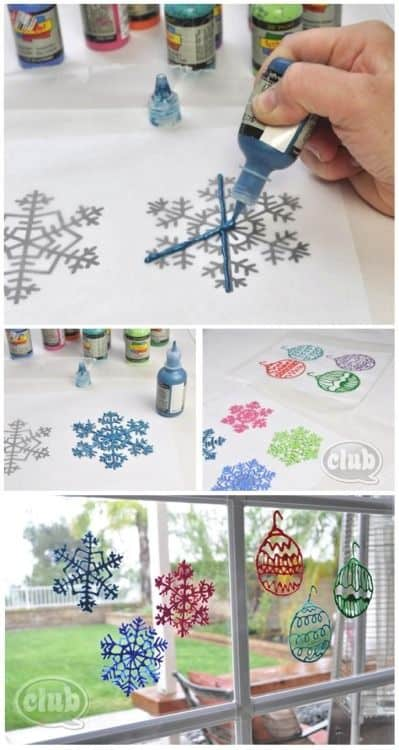 Ridiculously Easy DIY Glue Glitter snowflake. Can be made with either a glue gun or elmers glue, glitter optional. Best kids craft ideas, diy Christmas decorations, Christmas gift ideas, DIY Christmas gifts, Christmas crafts, Christmas Tree ideas,, apartments decorations, teachers gift
