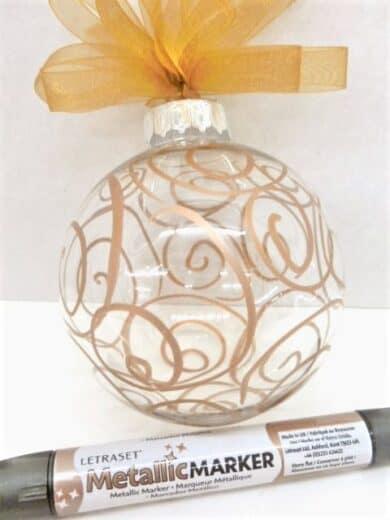 DIY Gold Marker Clear ball ornament