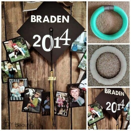 Easy DIY Graduation Picture Decor Party Wreath