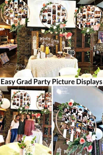 Hoop and ribbon Garden Graduation Party Picture Display