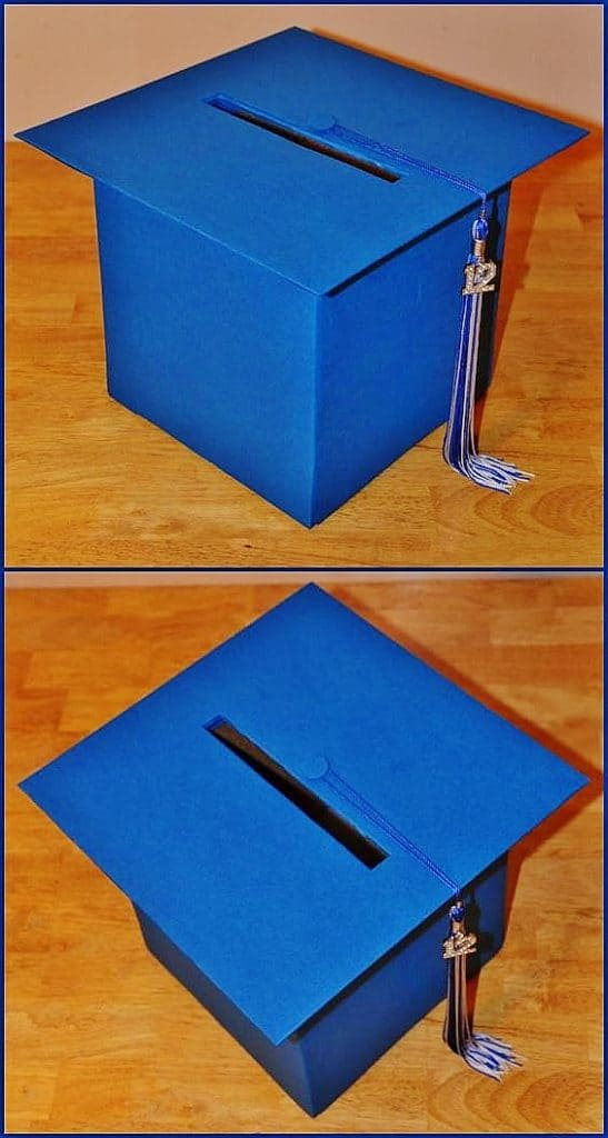 Graduation cap box for cards or advice, great graduation party decoration idea.