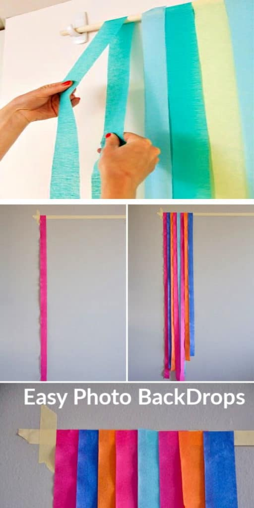 Easy DIY Graduation party decorations and picture ideas. Two cheap and easy methods for making a gorgeous photo backdrop or photo booth using dollar store crepe paper or streamers.