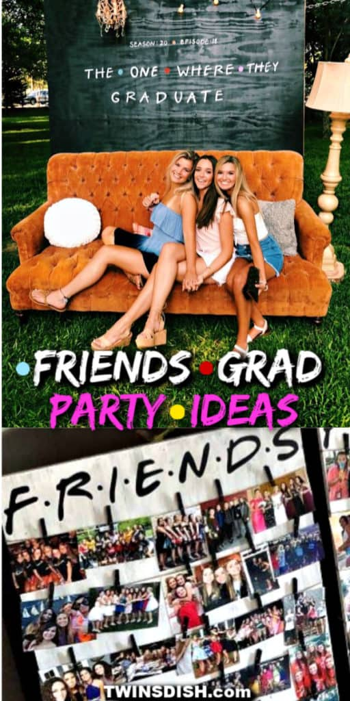 Friends tv show themed photo party backdrop and picture display Graduation Party ideas. Easy DIY Graduation Party Decoration Ideas for any budget indoor and outdoor.