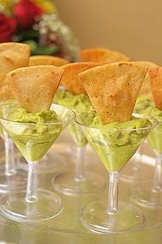 Easy DIY party ideas for 4th of July or Memorial Day. Serve guacamole in plastic cups or glasses for a wedding or special event.