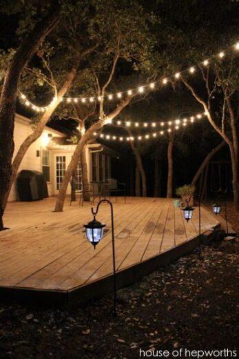 Backyard lighting for deck