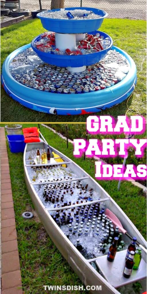 Graduation party ideas for high school and college, boys and girls. Tips and DIY for outdoor and indoor food, snacks, decorations, bar, pictures, and cap decorations on a budget.
