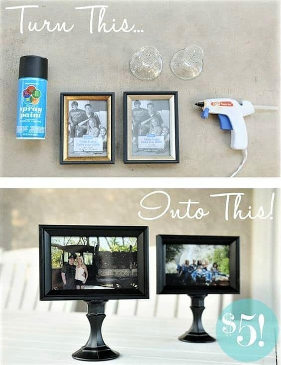 Graduation Party centerpieces using black dollar store frame and candlestick