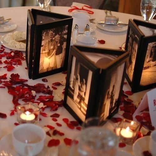 Graduation Party Centerpieces votive using black dollar store photo frames