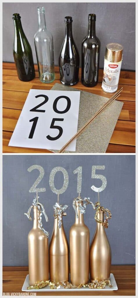 Graduation Party Centerpieces DIY Gold Bottles with numbers