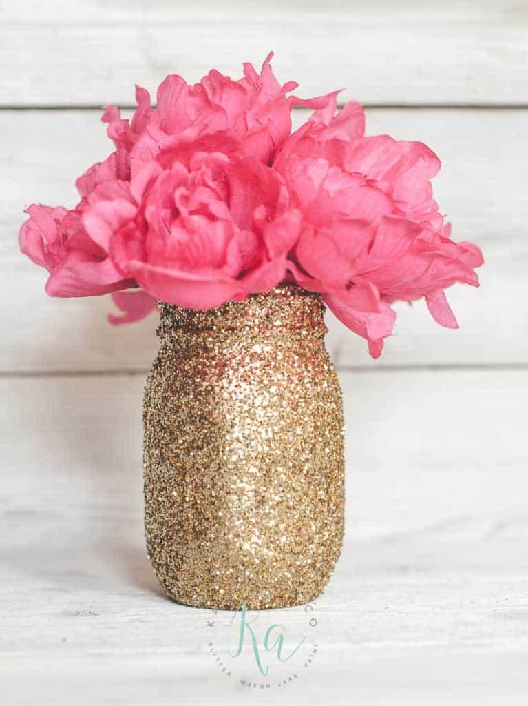 Graduation Party Centerpiece Gold Glitter Mason Jar