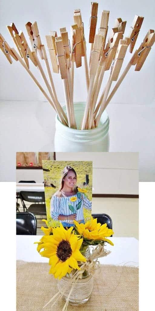 Graduation Party Centerpieces Rustic Sunflower Photo bouquet