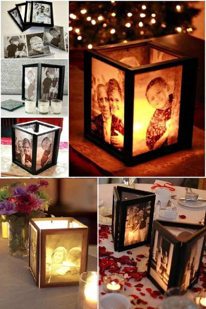 DIY Picture Frame votive centerpieces