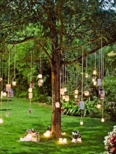 Grad Party Tree hanging mason jar lights