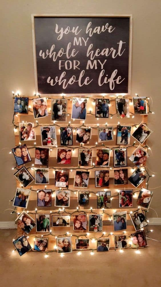 pallet wood picture display with lights