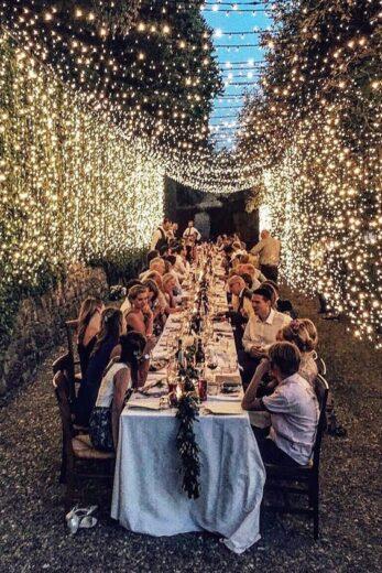 Backyard lighting for party