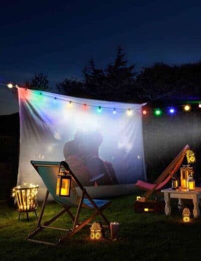 Backyard lighting and projector