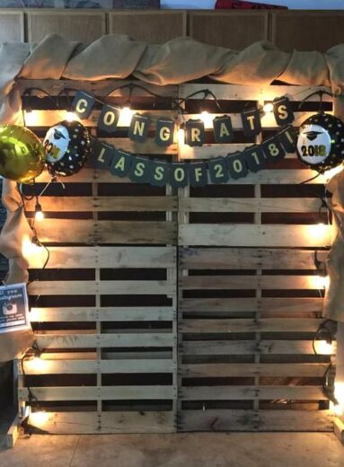 Pallet Wood Photo Back drop for night time Grad party