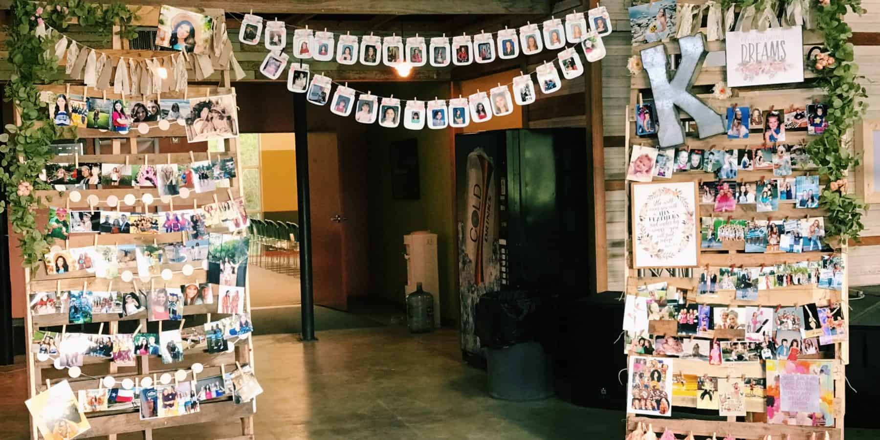 Grad Party Picture Collage Wall Photo display idea. Easy DIY Graduation Party Decoration Ideas using Pictures