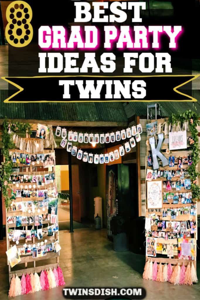 Grad Party Picture Collage Wall Photo display idea. Easy DIY Graduation Party Decoration Ideas using Pictures for Twins