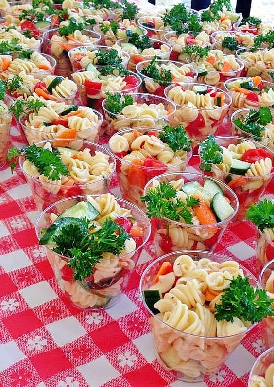 Easy DIY Pasta for 4th of July or Memorial Day parties. A great 4th of July party idea for portion control.