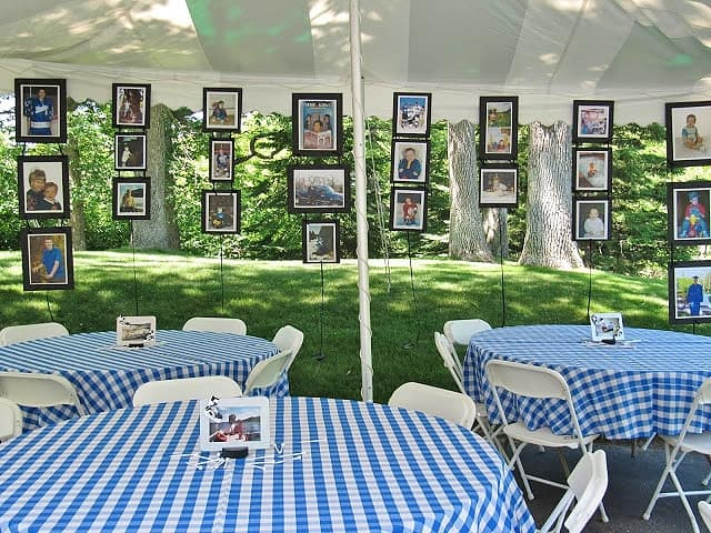 Easy Graduation party hanging picture display idea for outdoor high school and college, boys and girls. Tips and DIY for decorations, pictures, on a budget. #Graduation #GraduationParty #GradParty