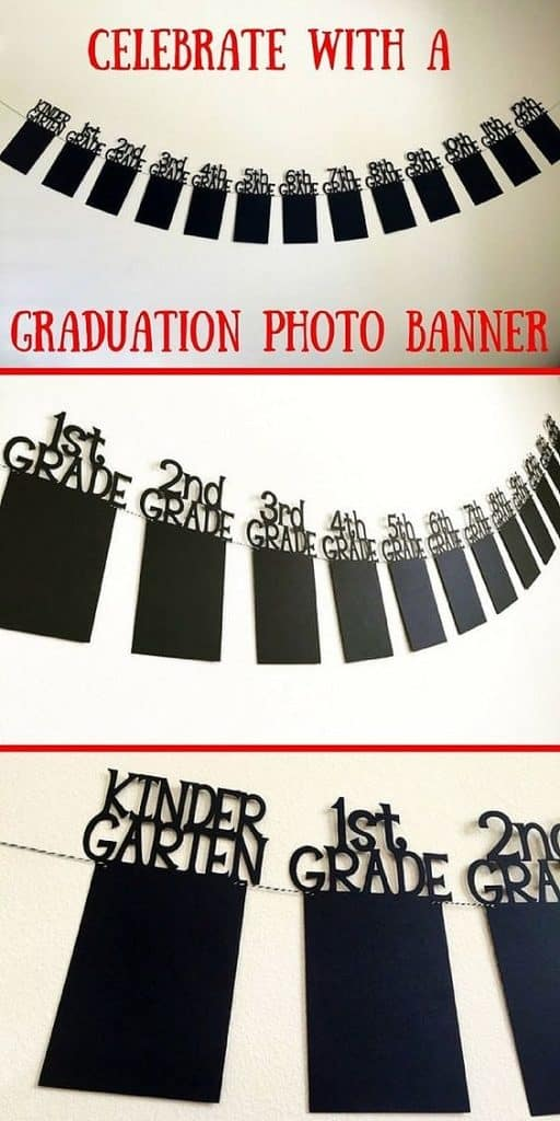 Photo Garland using school pics. Easy DIY Graduation Party Decoration Ideas using Pictures.
