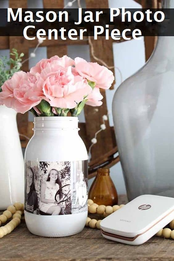 Glue photos to stock paper Easy Mason Jar Photo Vase, a Black and white Graduation Party centerpiece. Easy DIY Graduation Party Decoration Ideas using Pictures.