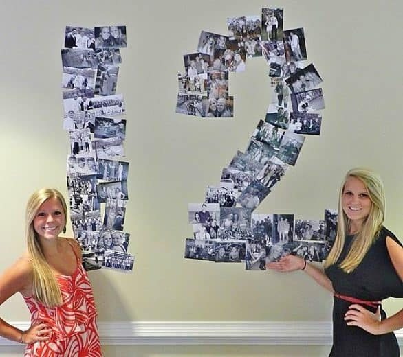 Easy Graduation party number collage picture indoor display idea for high school and college, boys and girls. Tips and DIY for decorations, pictures, on a budget. #Graduation #GraduationParty #GradParty