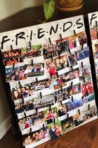 Friends photo board using clothes pins. Easy DIY Graduation Party Decor Ideas using Pictures.