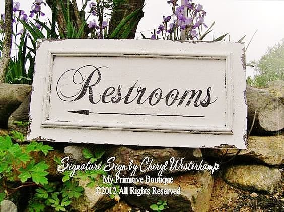 Restroom sign for Graduation Party Decoration Idea.