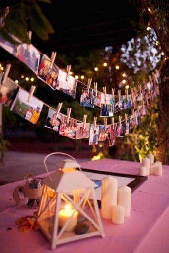 Easy Graduation party hanging picture display idea using string and clothespins for high school and college, boys and girls. Tips and DIY for decorations, pictures, on a budget. #Graduation #GraduationParty #GradParty