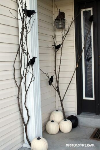 Branches and Pumpkins Halloween Decor Frontporch