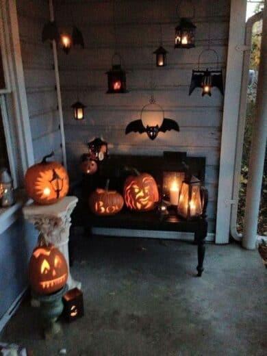 Halloween Porch Decor with Pumpkins and Bats